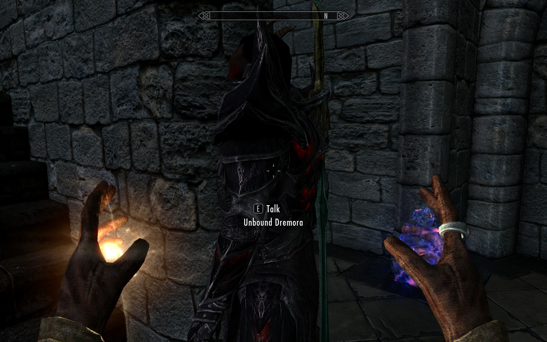 A screenshot from Skyrim shows an unbound dremora just wandering around.