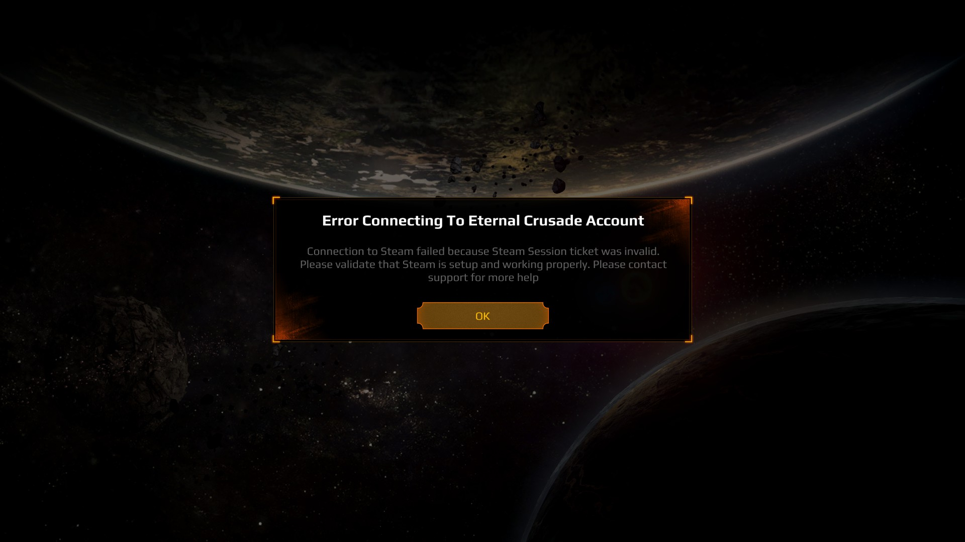 error connecting to eternal crusade account   Warhammer