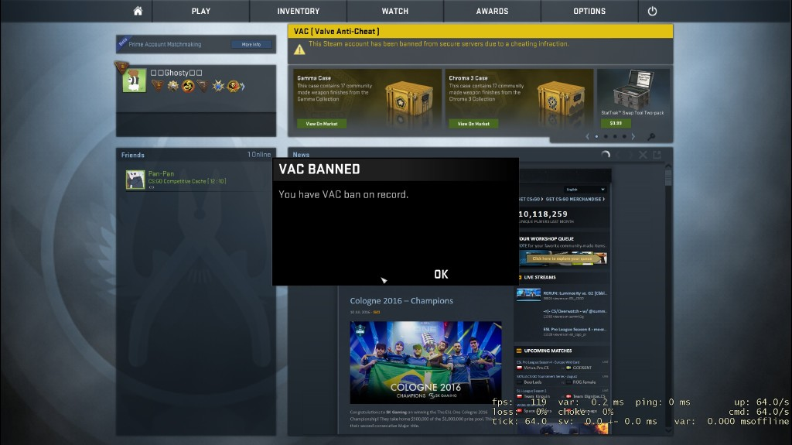 Vac Ban Steam Profile Troll: Steam Community :: Screenshot :: I GOT VAC BAN