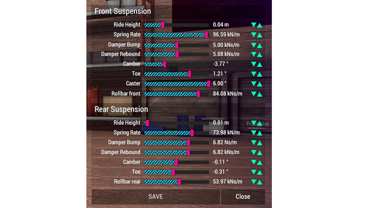 Suspension Settings Cruderocks Awesome Games