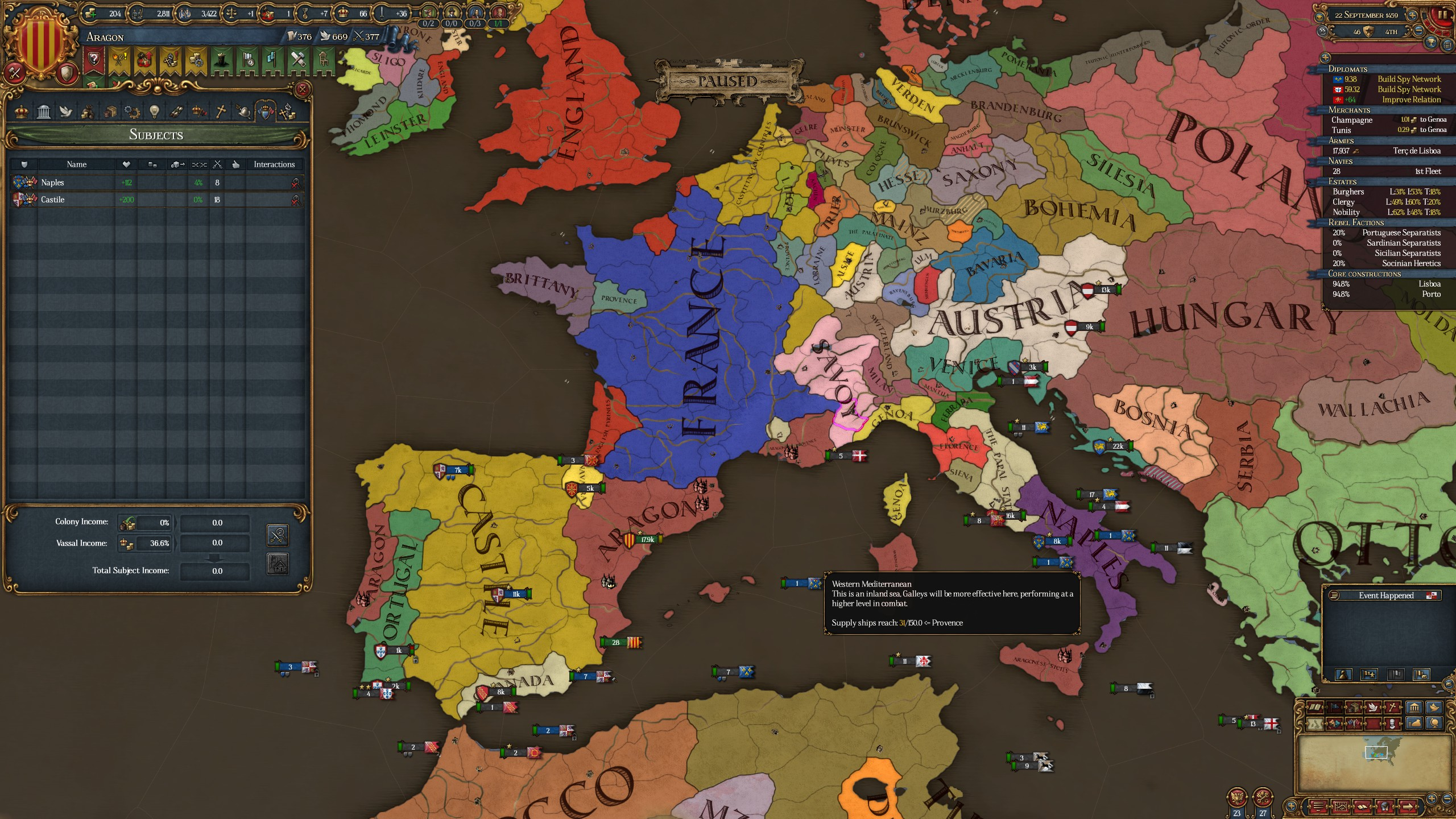 Iberian Wedding while playing Aragon, Then Castille inherits