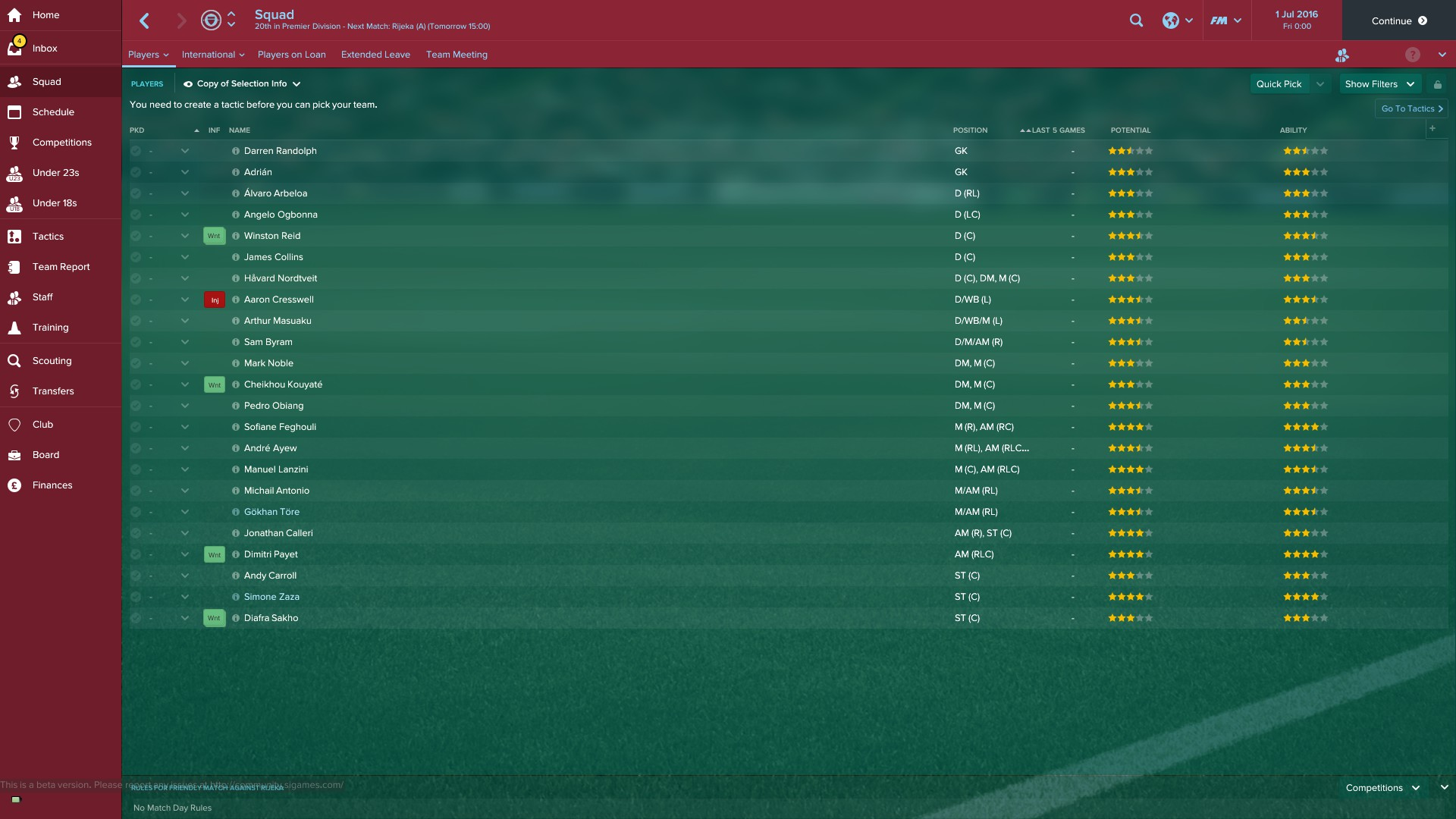 West Ham Squad