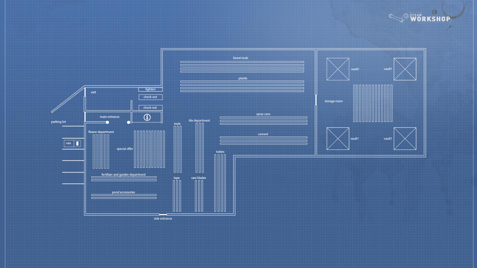 Steam community guide payday 2 hardware store concept for Store blueprints