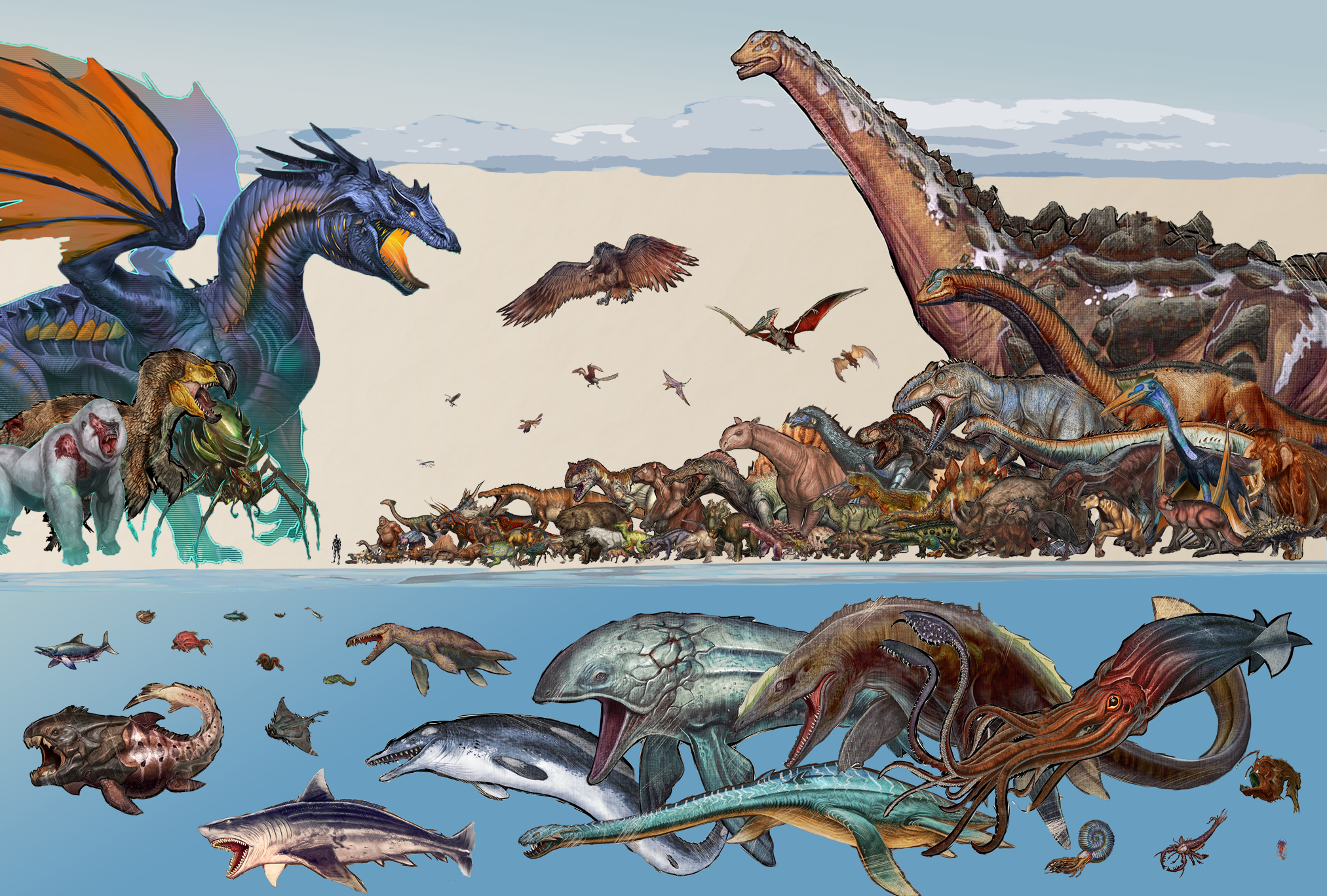 UPDATED Ark Dino Size Comparison featuring Onchorhynchus