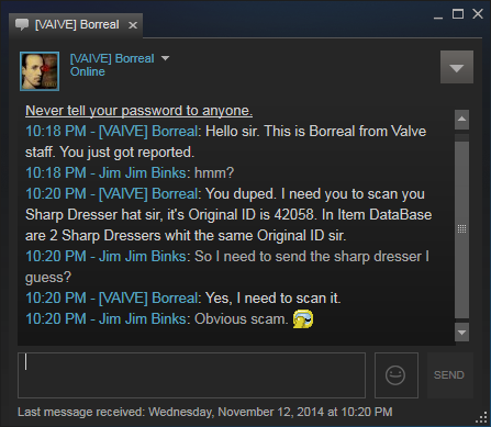 Foiled Steam scam