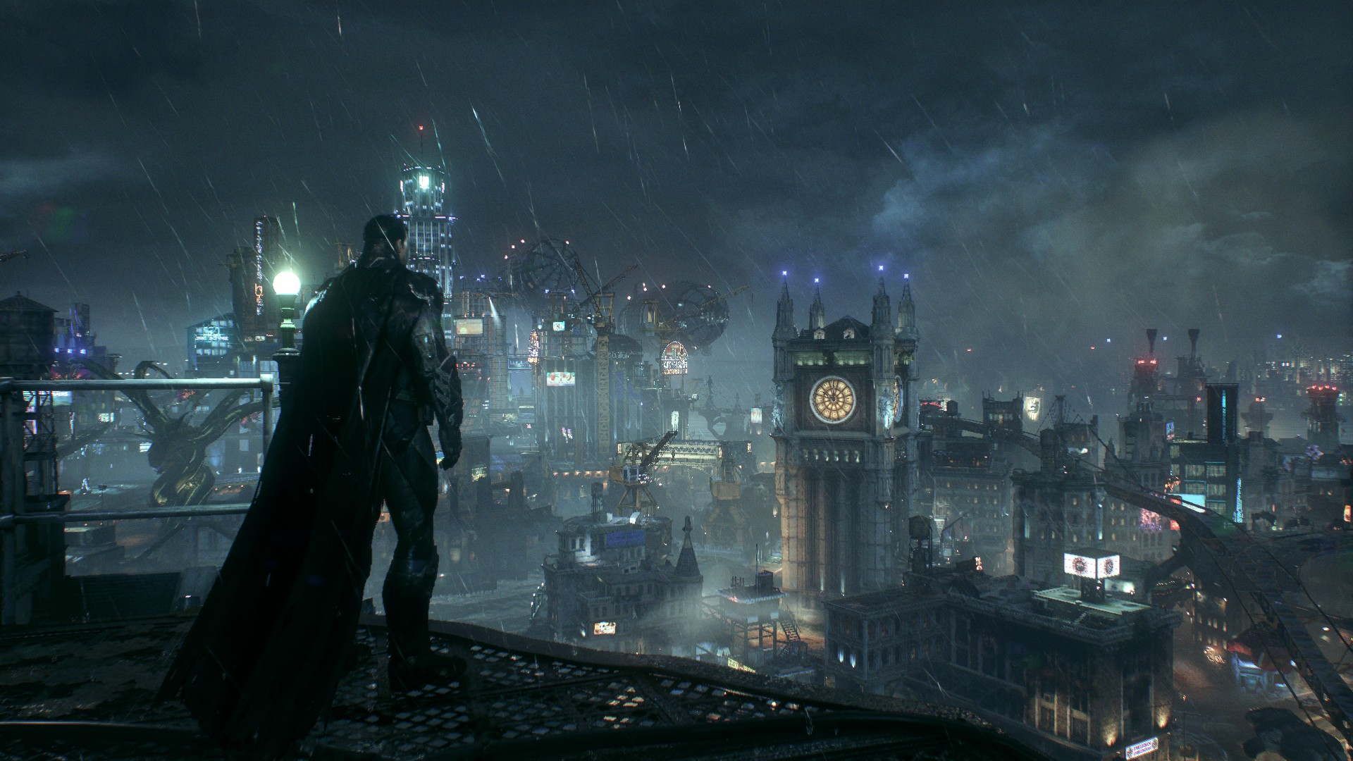 Batman looking at Gotham from the top of the GCPD.