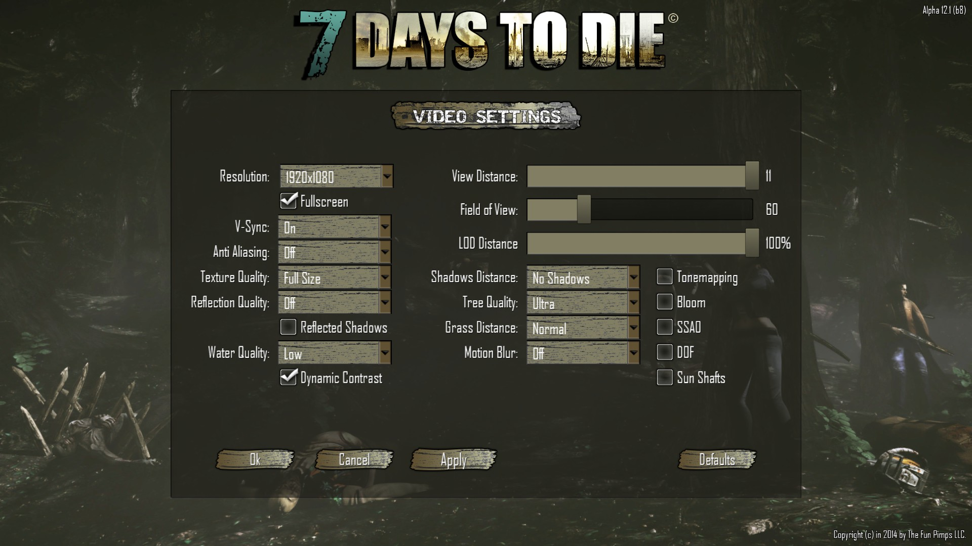 7 days to die how to turn off shadow shadder