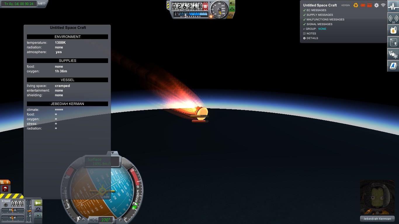 Аварийный сход с орбиты из-за разряда батарей. Обратите внимание на температуру поверхности крафта и недовольство сваривающегося заживо Джеба.