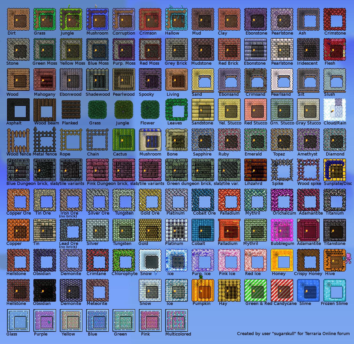 Stone Block Wall Terraria : Screenshot terraria reference image for walls and blocks