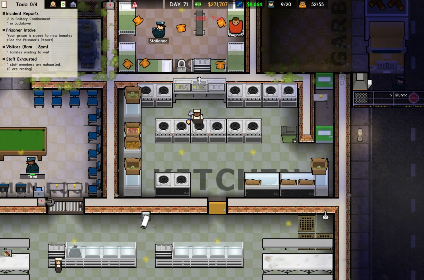 prison architect how to make staff food