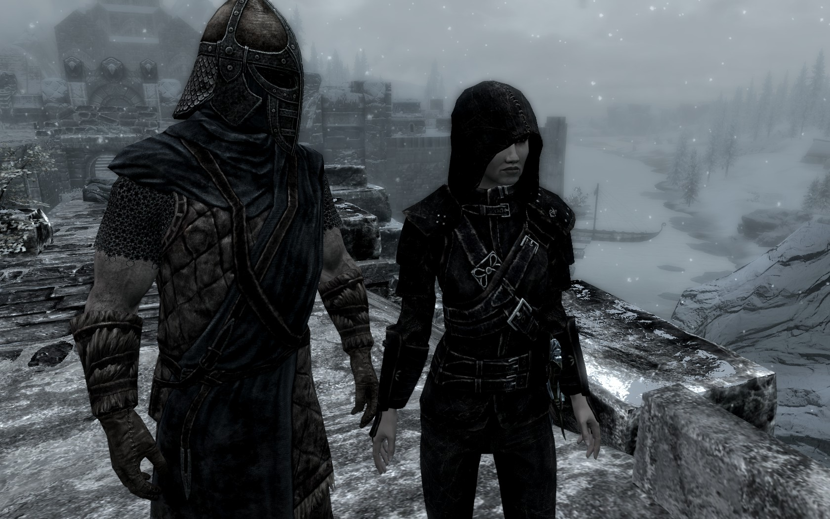 A screenshot from Skyrim shows a Windhelm guard almost, but not quite, holding the hand of a Breton woman in thieve's armor.