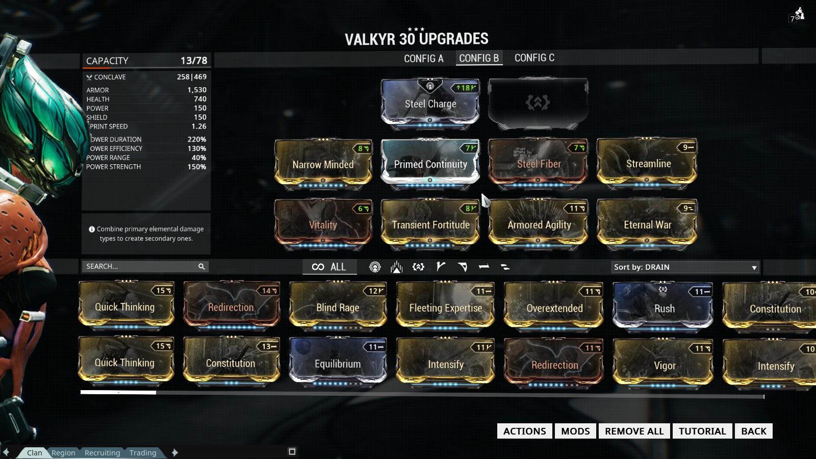 Warframe Valkyr Hysteria Build