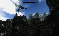 Dragon flyby over Dwemer ruins.