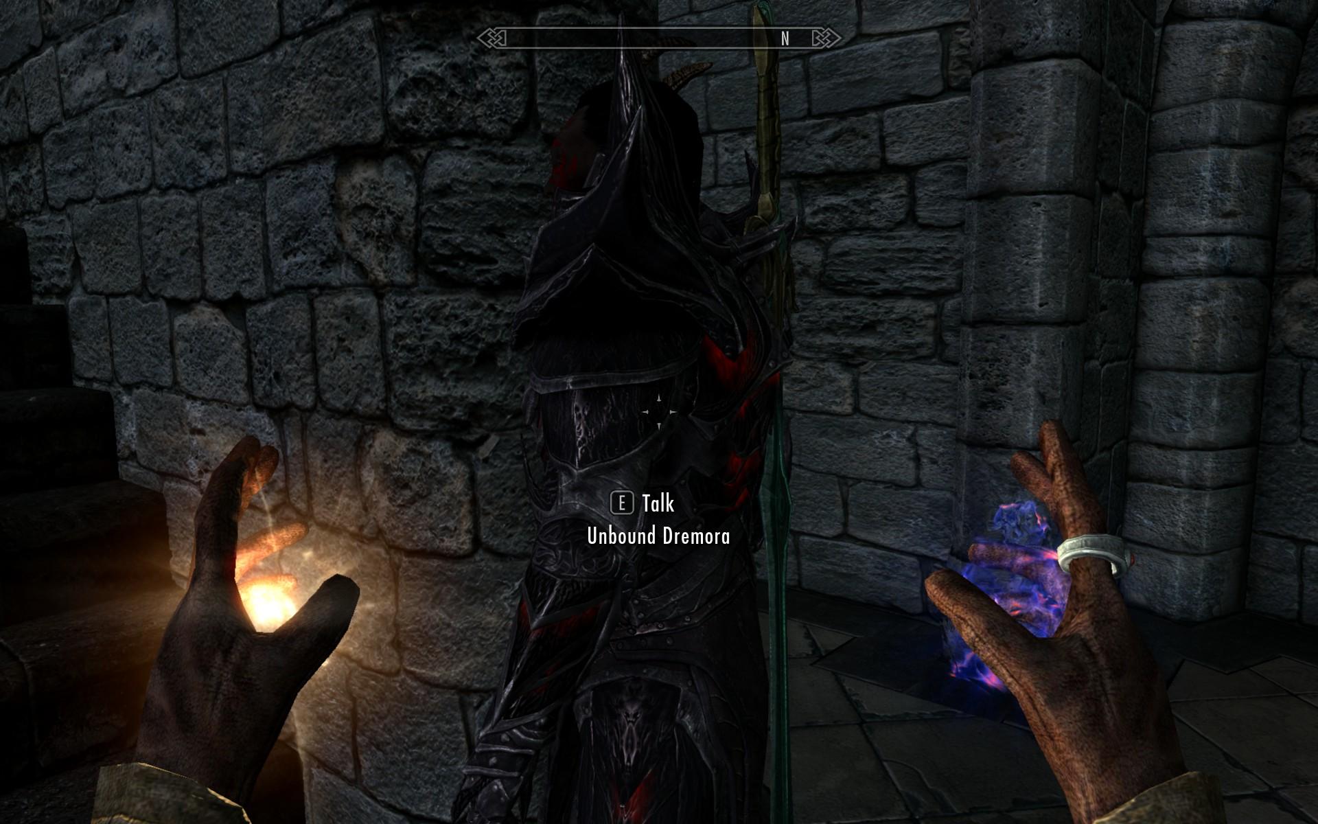 A screenshot from Skyrim shows an unbound dremora just wandering around.